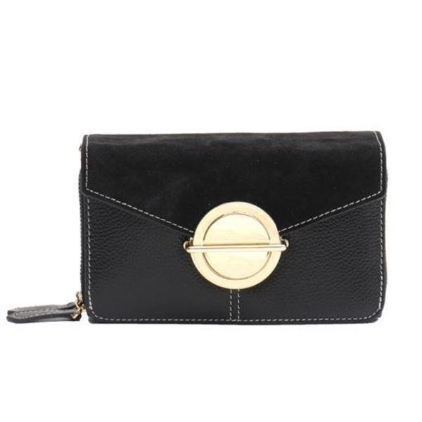 Picture of Vera May - Bernie Black Genuine Leather Ladies Cross Body Handbag - Black