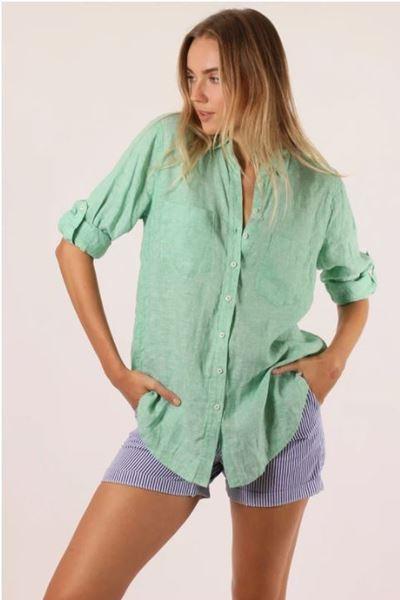 Womens Hut Linen Boyfriend shirt Kiwi Chambray
