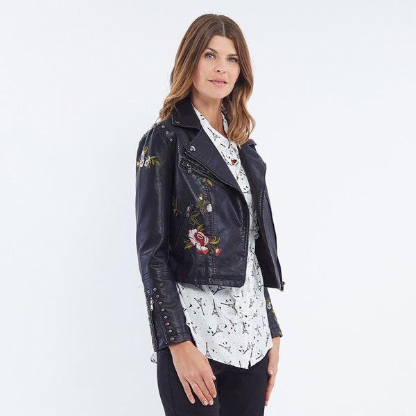 Picture of Embroidered Faux Leather Jacket - Black| Hammock & Vine
