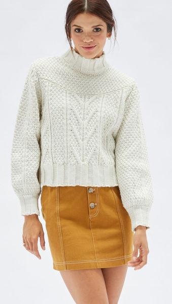 Haoma High Neck Knit Jumper - Natural | Mink Pink