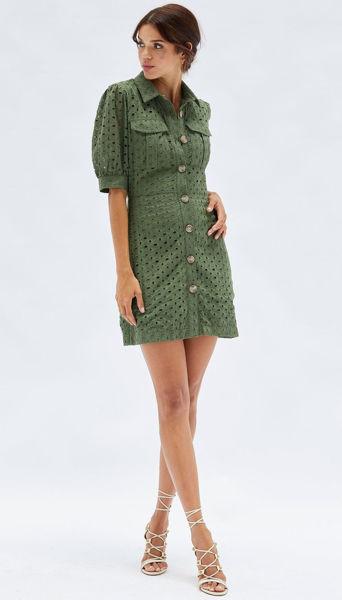 Picture of Roxie Mini Shirt Dress - Green    Minkpink